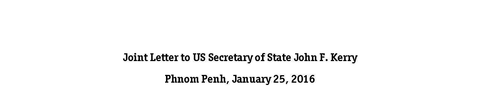 Joint Letter to US Secretary of State John F. Kerry