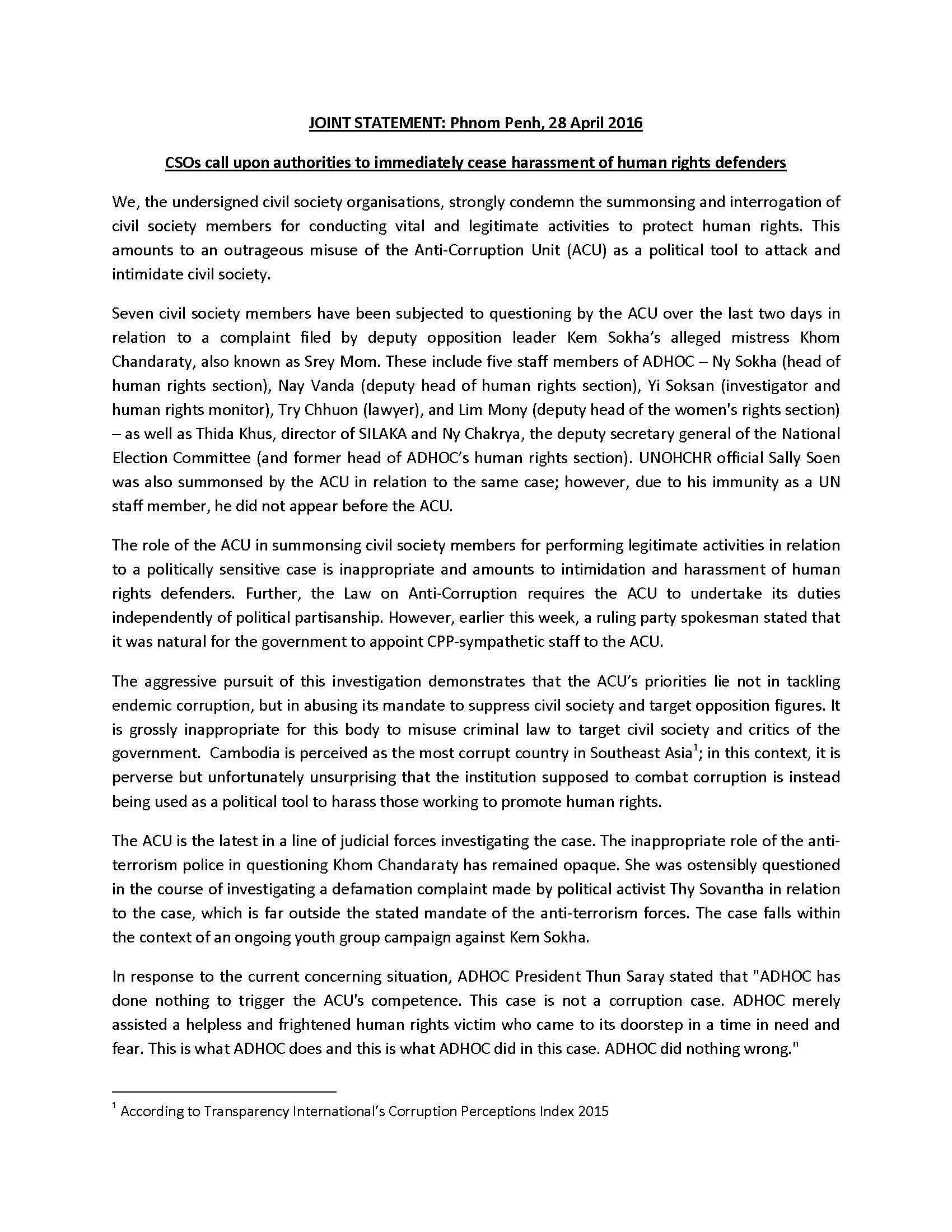 402Joint Press Release - CSOs call upon the authorities to immediately cease harrassment of human rights defenders _(ENG)-2_Page_1